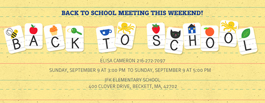 Alphabet Back to School Invitation