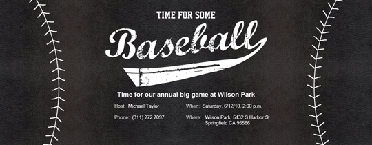 Baseball Black Invitation