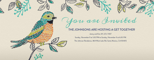 Bird and Foliage Invitation