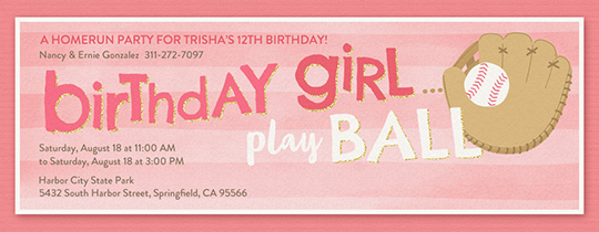 Birthday Girl Play Baseball Invitation