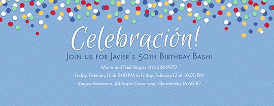 Blue Celebración Invitation