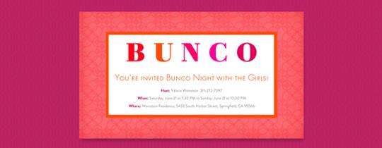 Bunco Frame Invitation