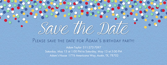 Save the date invitations and cards evite confetti blue save the date invitation free pronofoot35fo Images