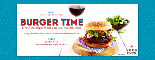Burger Time Invitation