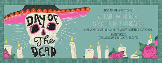 Day of the Dead Sombrero Invitation