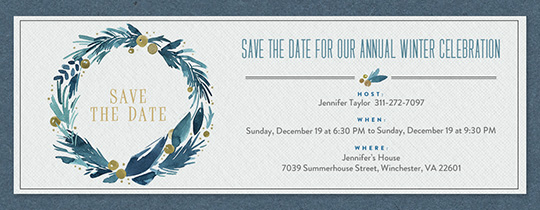 Festive Blue Wreath Invitation
