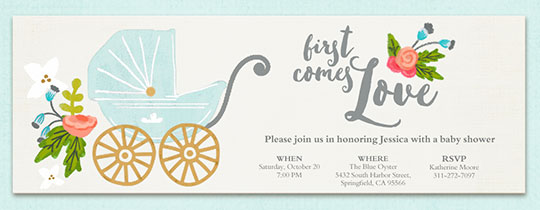 Online baby shower invitations evite first comes love invitation filmwisefo Choice Image