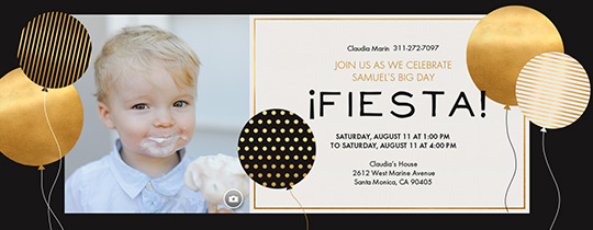 Golden Balloons Invitation