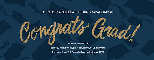 Hats off Blue and Gold Invitation