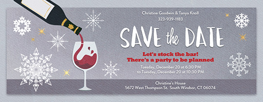 Holiday Cocktail Save the Date Invitation