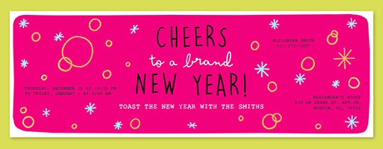Hot Pink Cheers New Year Invitation