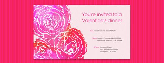 Hot Pink Petals Invitation