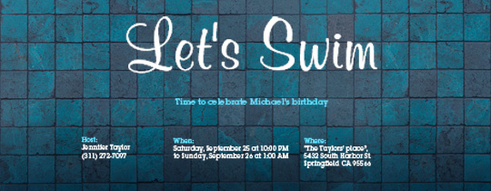 Let's Swim Invitation