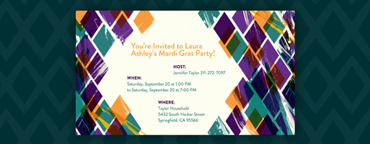 Mardi Gras Colors Invitation