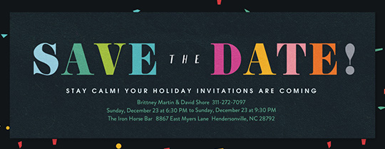 Merriest Confetti Save The Day Invitation