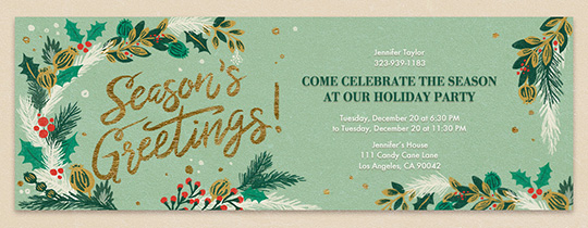 Modern Holly Greetings Invitation