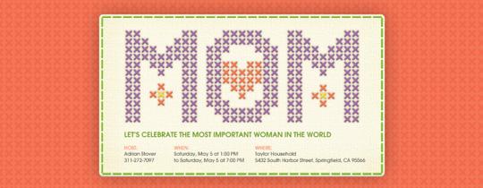 Needlepoint Mom Invitation