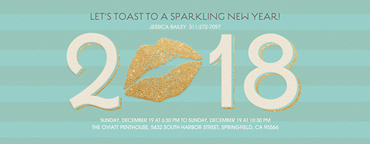New Year's Kiss Aqua Invitation