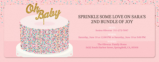 Online baby shower invitations evite oh baby sprinkle cake invitation filmwisefo Image collections