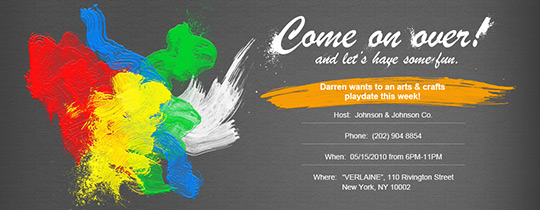 Theme Party Online Invitations Evitecom - Paint party invitation template free