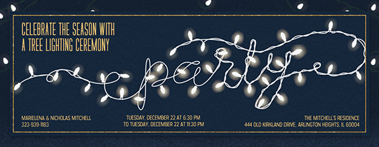 Party White Lights Invitation
