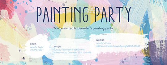 Invitations Free ECards And Party Planning Ideas From Evite - Paint party invitation template free