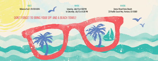 Free Online Beach Party Invitations Evite – Beach Themed Party Invitations