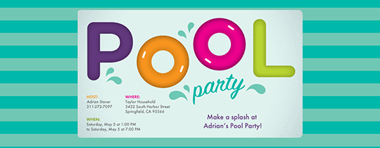 Pool Party free online invitations – Blank Pool Party Invitations