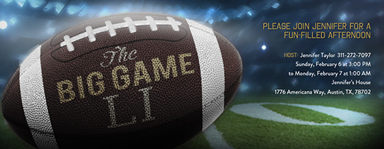 The Big Game free online invitations – Superbowl Party Invite