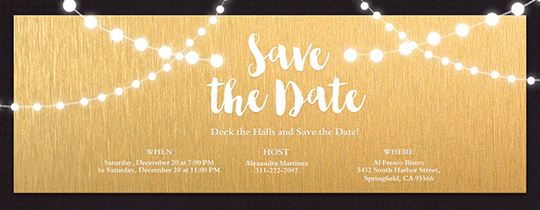 String Lights Gold Save the Date Invitation