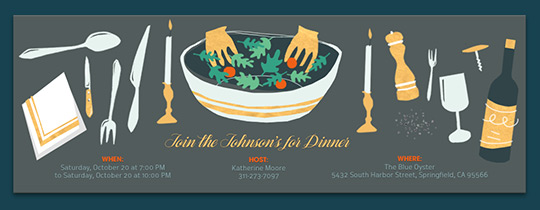 Dinner Party Invitations wwhat to bring list for guests Evite – Free Dinner Invitations