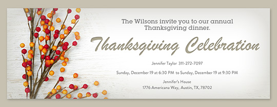 Evite free online thanksgiving dinner invitations thanksgiving branches invitation stopboris Gallery