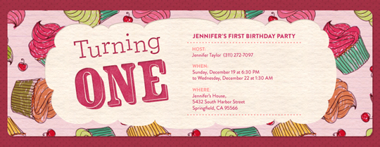 Invitations free ecards and party planning ideas from evite turning one cupcakes invitation stopboris Images