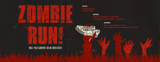 Zombie Run Invitation
